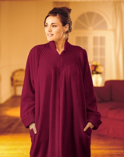 Soft Cotton Chenille Zip Robe In Loganberry