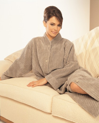 Soft Cotton Chenille Button Closure Robe In Mink