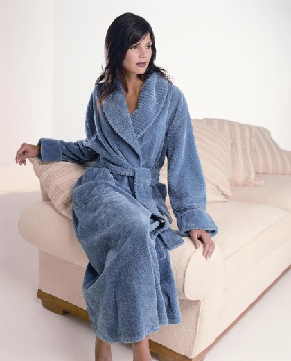 Fluffy Cotton Chenille Shawl Collar Wrap Over Robe