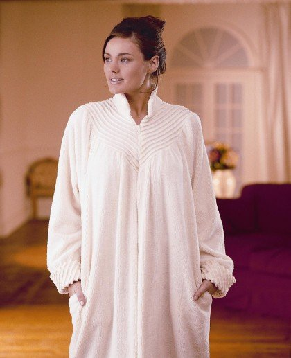 Soft Cotton Chenille Zip Dressing Gown